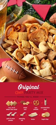 Score a touchdown with this fan favorite. Ready in just 15 minutes, Original Chex Party Mix is the perfect game day snack for your hungry football fans.