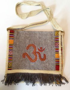 Golden Ohm Motif Embroidered Indian Cotton Hippy Boho Shoulder Messenger Bag
