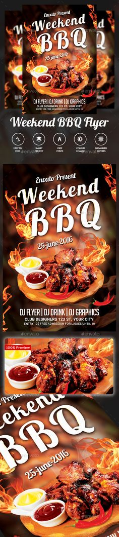 Weekend Bbq Flyer Template | Flyers, Flyer Template And Template