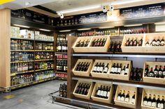 Shufersal Azriely store by Colibri, Tel Aviv – Israel Wine Shop Interior, Shop Interior Design, Retail Design, Store Design, Liquor Mart, Liquor Shop, Wine And Spirits Store, Supermarket Design, Wine House