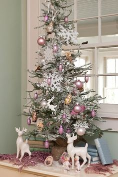 How to Decorate with Collections at Christmas/ flocked!! This is what i want this year even if its a table top :-)