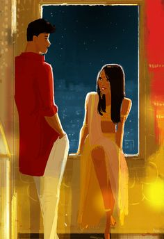 Nikhil and Meeta. Toh Phasee So. last night I saw this movie called Hasee Toh Phasee on Netflix. Nikhil and Meeta. Pascal Campion, Romantic Art, Girls Cartoon Art, Animation Art, Cute Couple Art, Indian Illustration, Art, Digital Art Fantasy, Cartoon Art