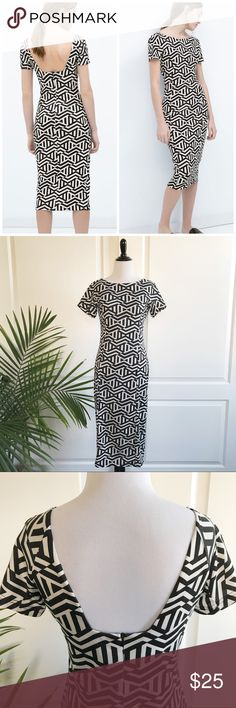 """Zara B&W Collection Low Cut Back Midi Dress Zara B&W Collection Low Cut Back Midi Dress *Size Large (Runs more like medium) - Underarm to underarm : 18"""" flat / Waist : 15"""" flat / Length: 43"""" *Short sleeves / Abstract prints / Midi length / Back zipper  *Fabric care tag has been removed. Seems like polyester and spandex blend commonly used for bodycon dresses. *In great pre-loved condition with light signs of wear. No major flaws. *No trade G Zara Dresses Midi"""