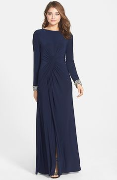 Main Image - Vince Camuto Beaded Cuff Ruched Jersey Gown