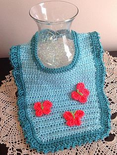 Crochet bib, toddler bib, teal bib, butterfly bib by OnceUponARoll, $15.00 USD