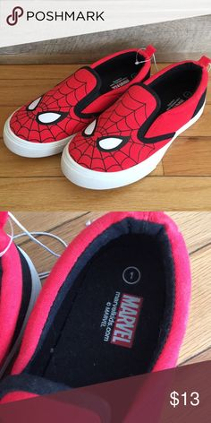 •Spider-Man Slip on shoes!• NWOT! They are still tied together from the store and were never worn.  Children size 1. Pet and smoke free home. Marvel Shoes Dress Shoes