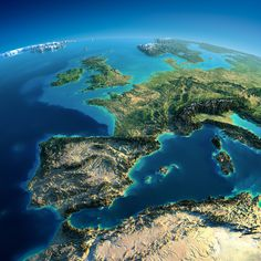 Exaggerated relief map of Western Europe