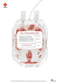 Fill it up, save lives, red cross campaign
