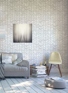 Herringbone Hand Drawn Decorative Scandinavian Wall Stencil for DIY project, Large, Wallpaper look and easy Decor sold by StenCilit /Scandinavian Design. Shop more products from StenCilit /Scandinavian Design on Storenvy, the home of independent small businesses all over the world.