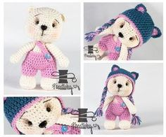 český návod na háčkovaného medvídka s čepicí My Children, Kids, Pet Toys, Crochet Toys, Diy And Crafts, Knitting, Pattern, Animals, Bikini