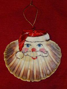 Scallop Shell Santa - Christmas Ornaments