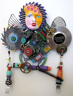 RESERVED I Am A Warrior  recycled found object sculpture mixed media. $1,100.00, via Etsy.