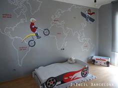 Habitaciones infantiles con mapamundi pintado por #Stencilbarcelona