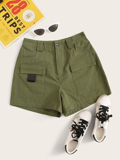 Button Waist Dual Pocket Cargo Shorts - S Girls Fashion Clothes, Clothes For Women, Romwe, Army Shorts, Type Of Pants, Bermuda, Lingerie Sleepwear, Army Green, Short Skirts