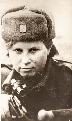 "Valentina Biněvská. Medic and sniper. Near Sokolovo she fighted as an observer. As medic of 2. parachute brigade she was air-dropped to Slovakia. From album ""Women in the Units of the Czechoslovak Army in the USSR"""