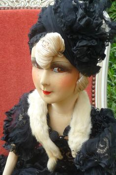 ANTIQUE FRENCH BOUDOIR DOLL.PARIS 1920 RARE SILK .FASHION DOLL. | eBay