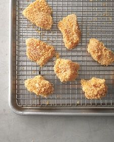 Baked Chicken Nuggets.  Nuggets are a home run with kids, but admit it, you love them too. These are baked, so you can enjoy them guilt-free. A three-step breading method -- coating chicken pieces in flour, egg, and breadcrumbs -- seals in moisture and gives a crisp crunch without a lot of added fat.