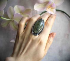 The Emergence of Spring Ring  Rutilated Prehnite by LaFreeBoheme
