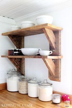 Ideas For Scrap Wood Projects Diy Shelves Scrap Wood Projects, Woodworking Projects, Diy Projects, Kitchen Shelves, Diy Kitchen, Diy Home Improvement, Pallet Furniture, Wood Pallets, Barn Wood