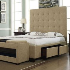 Malibu Storage Bed pairs rich mid-century style with sleek contemporary flair. Masterfully handcrafted, this eye-catching design showcases a high-profile silhouette, luxe bonded leather upholstery, plush button-tufted detail, and four ample drawers for clothing, linens, and accessories.
