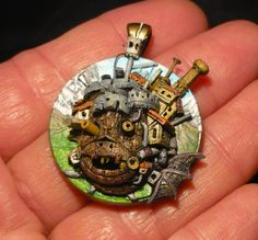 Howls Moving Castle  handsculpted 3DPendant by MiraCrafts on Etsy, €48.50