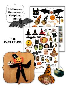 Just in time for Halloween crafting (what, you're not already crafting for the most important holiday of the year?) {Halloween Chenille Ornaments digital collage sheet  by magicpug, $5.00}