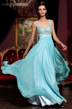 Attractive Colorful U Neck Floor-length Prom Evening Dress