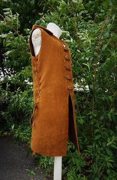 viking tunic brown leather medieval tabard archer jerkin