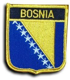 "Bosnia-Herzegovina - Country Shield Patch by flagline. $2.75. 2.5"" x 2.75"" Shield Patch - New. Our shield patches feature each country's flag below the name, and can be sewn on or ironed on. Actual size is approximately 2.5"" x 2.75"".. Save 30%!"