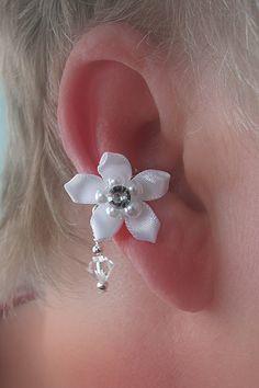 Bridal Ear Cuff pair/ Satin flower Rhinestone by thelazyleopard, $20.00