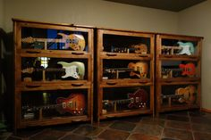 Guitar storage cabinet - Do you have any guitar and you would like for them to build a small storage closet? Guitar Display Case, Guitar Storage, Home Music Rooms, Music Studio Room, Sound Studio, House Music, Music Furniture, Studio Furniture, Furniture Ideas