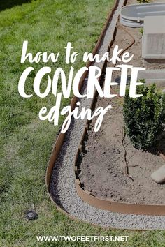 Improve your homes curb appeal by adding concrete edging to your landspacing See how to make concrete borders around flower beds gardens trees etc twofeetfirst landscaping # Concrete Landscape Edging, Landscape Curbing, Home Landscaping, Front Yard Landscaping, Landscaping Edging, Curb Appeal Landscaping, River Rock Landscaping, Landscaping Around House, Flower Bed Edging