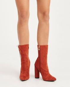 Wet Seal Faux Suede Lace-Up High Ankle Booties Rust -size 10