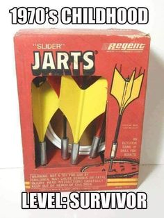 Oh yeah, my sadistic friends and I very much enjoyed dodge jarts back in the day! 1970s Childhood, My Childhood Memories, Childhood Toys, Vintage Games, Vintage Toys, Ol Days, Retro Toys, Teenage Years, The Good Old Days