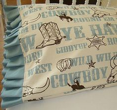 Toddler Bedding Pillow Case / Sham Cowboy Print with Light Blue Ruffles. $18.50, via Etsy.