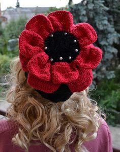 OOAK Big red flower cap  hat lovely warm slouch by DosiakStyle