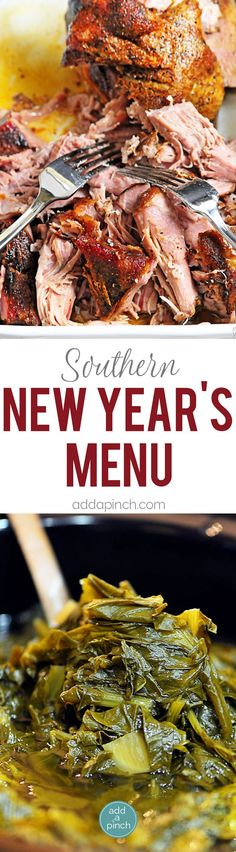 Southern New Year's Menu perfect for celebrating the first day of the new year! Said to bring money, luck and prosperity in the new year! // addapinch.com
