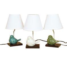 "DEI Crackle Ceramic Bird 14.5"" H Table Lamp with Empire Shade"