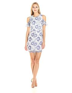 Freshen up your spring wardrobe with our Antonia lace cold shoulder dress! this blue and white floral number is a must have, especially with it's feminine eyelash lace trimmings.