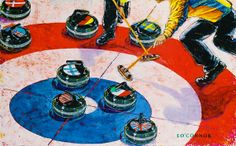 Series of 11 Olympic Paintings  by Sean O'Connor, via Behance ~ 2010 Winter Olympics curling