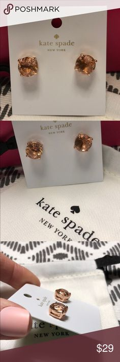 Kate Spade Gumdrop Studs - light peach/Rose Gold New with tags - never worn. Beautiful and classy - peach Studs with Rose Gold plated metal. A must have!!  Comes with pouch. kate spade Jewelry Earrings