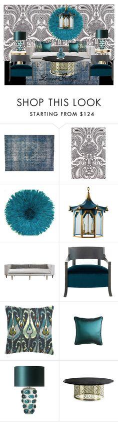 """Azul"" by lorena-gallego on Polyvore featuring interior, interiors, interior design, hogar, home decor, interior decorating, F.J. Kashanian, Odette, Ethan Allen y Jonathan Adler"