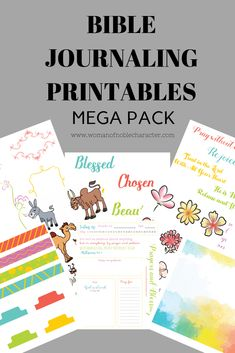 Bible journaling printable pack with Bible verses, phrases and images of flowers, animals and other fantastic images to use in Bible journaling &War Binders Father Son Holy Spirit, Proverbs 31 Wife, Biblical Marriage, Worship The Lord, Mega Pack, Prayer Board, Songs To Sing, Kids Prints, Flower Images