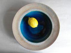 Vintage Danish - Kähler - HAK - large bowl  - turqouise - Nils Kähler - stoneware - mid century.