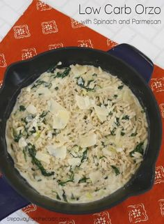 This low carb orzo dish is filling creamy, and loaded with spinach and Parmesan. A comforting vegetarian and LCHF recipe. Best Low Carb Recipes, Low Carb Vegetarian Recipes, Low Sugar Recipes, Vegetarian Entrees, Low Carb Dinner Recipes, Keto Recipes, Low Carb Bread, Low Carb Keto, Orzo Spinach