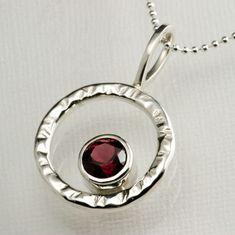 Red Garnet in Sterling Silver Hammered Circle by JenLawlerDesigns