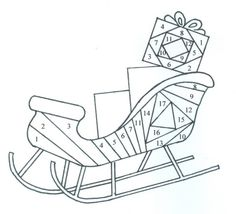 Paper Piecing Patterns Free Printables | Do the sleigh in one color, starting with 1 and continuing through 17.