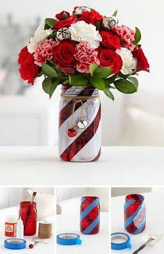 DIY CANDY CANE MASON JARS...love this idea! Find the BEST Christmas Mason Jar ideas here...  http://kitchenfunwithmy3sons.com/2016/11/christmas-mason-jar-ideas.html/
