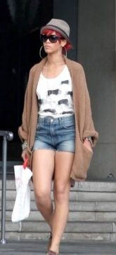 Rihanna wearing the Buffalo Vest from the Cruise 2010 collection whilst out in LA.