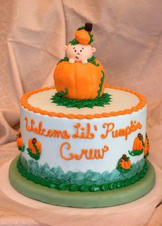 """Welcome Lil' Pumpkin"" Baby Shower Cake"